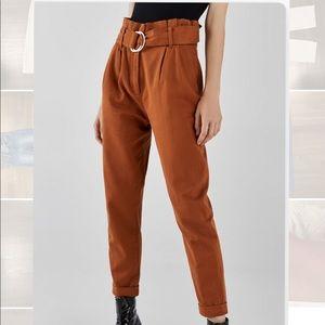 Bershka Dark Orange Paper Bag Pants
